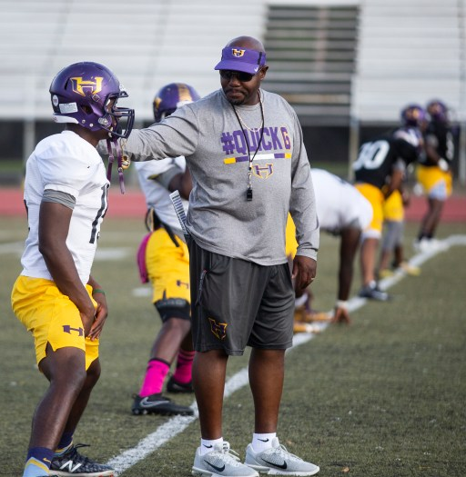 Hattiesburg High football coach Tony Vance talks to players during practice Wednesday, October 11, 2018.