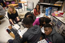 "Kaitlyn Barton, left, and her English class analyze the graphic novel ""Maus"" at Clarksdale High School Wednesday, October 31, 2018."