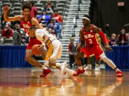 Ole Miss defenders try to stop Southeastern Louisiana's offense during their game at the Mississippi Coliseum Wednesday, December 12, 2018.