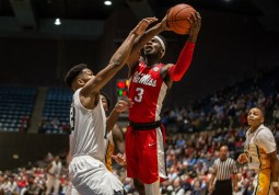 Ole Miss' Terence Davis (3) goes up for a shot during their game against Southeastern Louisiana at the Mississippi Coliseum Wednesday, December 12, 2018.