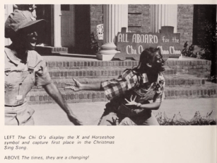 """The 1969 University of Mississippi yearbook shows members of the Chi Omega sorority performing a skit. The caption provided to the yearbook by the sorority reads: """"The times, they are a changing!"""""""