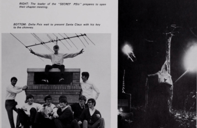 """The 1970 University of Mississippi yearbook shows a member of the Delta Psi fraternity dressed in full Ku Klux Klan robe and hat, holding two burning torches. The caption provided by the fraternity to the yearbook reads: """"The leader of the 'SECRET PSIs' prepares to open their chapter meeting."""""""