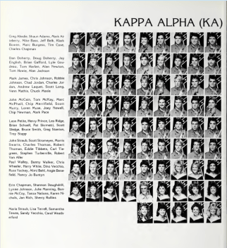 The 1986-87 University of Southern Mississippi yearbook shows the members of Kappa Alpha fraternity posing for their composite headshots in Confederate army uniforms in front of Confederate battle flags.