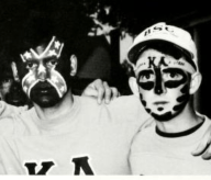 The 1993 Millsaps College yearbook shows members of the Kappa Alpha fraternity with darkened faces. The member in the middle appears to be wearing a painted Confederate battle flag on his face. No caption or further explanation was published.