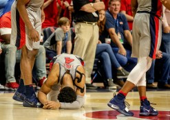 Breein Tyree expresses emotion after Ole Miss loss their game against Tennessee in Oxford, Wednesday, February 27, 2019.