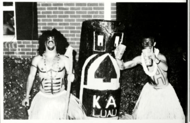 """The 1993 Millsaps College yearbook shows two Kappa Alpha fraternity members dressed in darkened skin for the """"KA Luau."""" No caption or further explanation was published."""