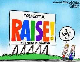"""It's election year. In Oprah's voice, """"a raise for you and a raise for you and a raise…"""""""
