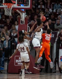 Mississippi State's Teaira McCowan (15) blocks Clemson's Simone Westbrook's shot during their NCAA tournament game at Humphrey Coliseum in Starkville, Miss., Sunday, March 24, 2019.