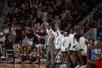 Mississippi State celebrates a three-point shot during their NCAA tournament game against Clemson at Humphrey Coliseum in Starkville, Miss., Sunday, March 24, 2019.