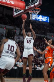 Mississippi State's Teaira McCowan (15) goes up for a shot during their game against Clemson at Humphrey Coliseum in Starkville, Miss., Sunday, March 24, 2019.