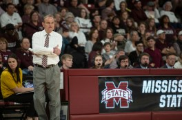 Mississippi State's Head Coach Vic Schaefer watches his players during their NCAA tournament game against Clemson at Humphrey Coliseum in Starkville, Miss., Sunday, March 24, 2019.