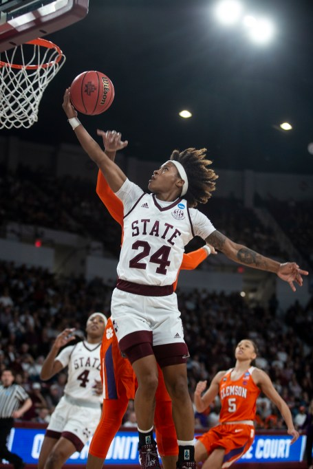 Mississippi State's Jordan Danberry (24) goes up for two of her 18 points in State's victory over Clemson.