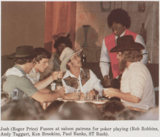 A photograph from the 1979 Mississippi College yearbook shows Andy Taggart (second from left), a Republican candidate for attorney general, performing in a skit with two students who were wearing blackface.
