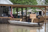 A calling for flood control is seen at a residence in Issaquena County Friday, April 5, 2019.