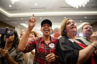 Tate Reeves supporters cheer as the GOP gubernatorial prepares to speak during his election watch party Tuesday, August 27, 2019.