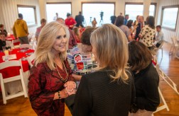 Attorney general candidate Lynn Fitch speaks with supporters during the Madison and Hinds County Republican Women candidate forum at The Lake House in Ridgeland, Miss., Monday, August 26, 2019.