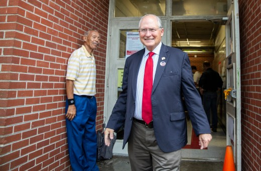 GOP gubernatorial candidate Bill Waller Jr. leaves Spann Elementary after voting in the GOP runoff elections.