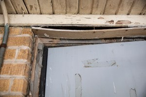 A damaged door frame at Leland Elementary School.