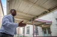 Leland High School Principal Johnny Vick walks talks about the school's structural damage Monday, September 9, 2019.