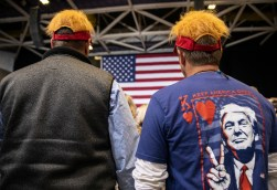 Supporters wear President Donald Trump-inspired hats during the Trump rally at BancorpSouth Arena in Tupelo, Miss., Friday, November 1, 2019.