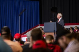Sen. Roger Wicker speaks to the audience during the Trump rally at BancorpSouth Arena in Tupelo, Miss., Friday, November 1, 2019.