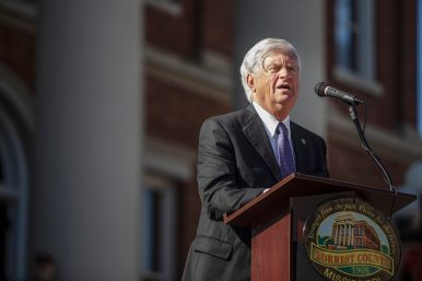 Chief Justice Michael K. Randolph gives remarks during the Vernon F. Dahmer. Sr. statue dedication and unveiling ceremony at the Forrest County Courthouse Monday, January 6, 2020.