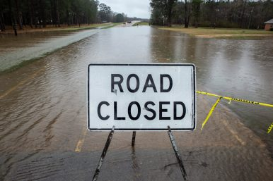 One of many roads closed in Rockport, Miss., due to the Pearl River flooding Wednesday, February 19, 2020.