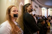 Protesters attend a hearing during a joint hearing of the House Corrections and Judiciary B Committees about the current Mississippi Department of Corrections issues Thursday, February 13, 2020.