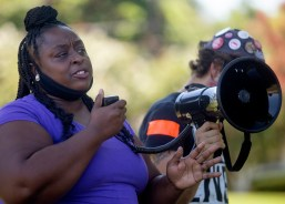 Yolanda Jackson speaks to protesters during the Parents for Safe Schools Rally at Minnie Cox Park in Indianola, Miss., Thursday, July 23, 2020.