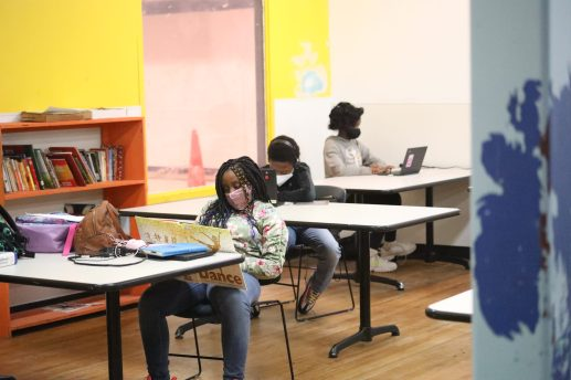 Jackson Public Schools students read or watch videos after completing their virtual lessons at the Boys and Girls Club Capitol Street unit on Sept. 21, 2020.
