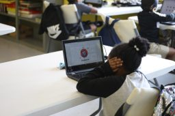 Jackson Public Schools students conduct quizzes on their laptops at the Boys and Girls Club Capitol Street unit on Sept. 21, 2020.