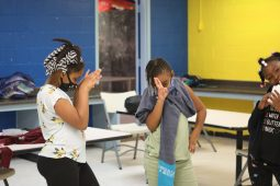 Kelvi, KaMiyah, Mackenzine perform a dance after finishing their schoolwork at the Boys and Girls Club Capitol Street unit on Sept. 21, 2020. Once they clean up their workspaces, they'll get to go to the gym.