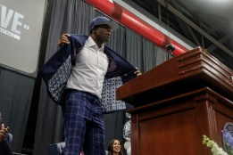 Deion Sanders showed off his JSU sports coat when he was introduced as the Tigers new coach.
