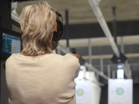 Republican Sen. Cindy Hyde-Smith during a shootout competition against U.S. Congressman Michael Guest and Mississippi Supreme Court Justice Kenny Griffis. The shooting competition was part of a speaking event hosted by the Madison County Republican Women, the Rankin County Republican Women and the Hinds County Republican Women, Wednesday evening at The Range in Gluckstadt.