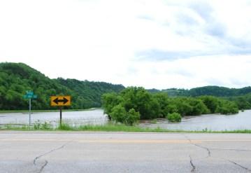 Flooded fields in northeast Iowa