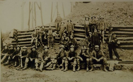 Miners posing for a group picture; courtesy of the Cuyuna Iron Range Heritage Network