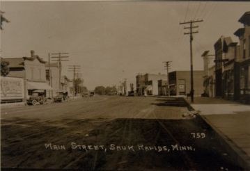Main Street, Sauk Rapids, MN, early 1900s (courtesy of Benton County Historical Society)