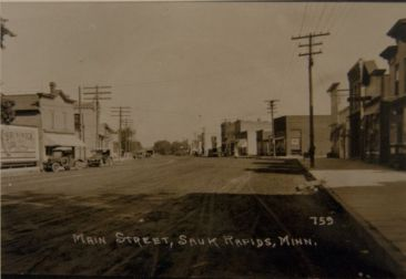 Main Street, Sauk Rapids, MN, early 1900s (courtesy of Benton County Historical Society)