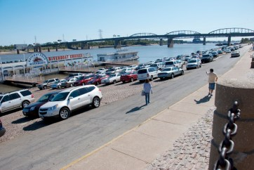 The old cobblestone levee is often used as a parking lot