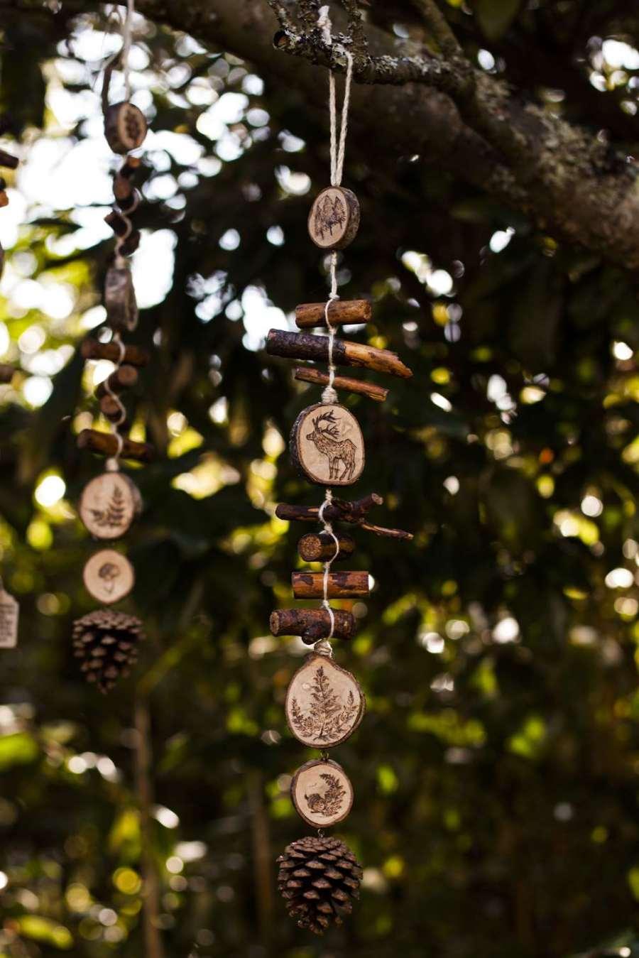 Guirlande verticale cerf en bois et chanvre bio, décoration personnalisable, animaux, artisanat français écoresponsable, atelier de La lettre aux ours, Missive to Bears