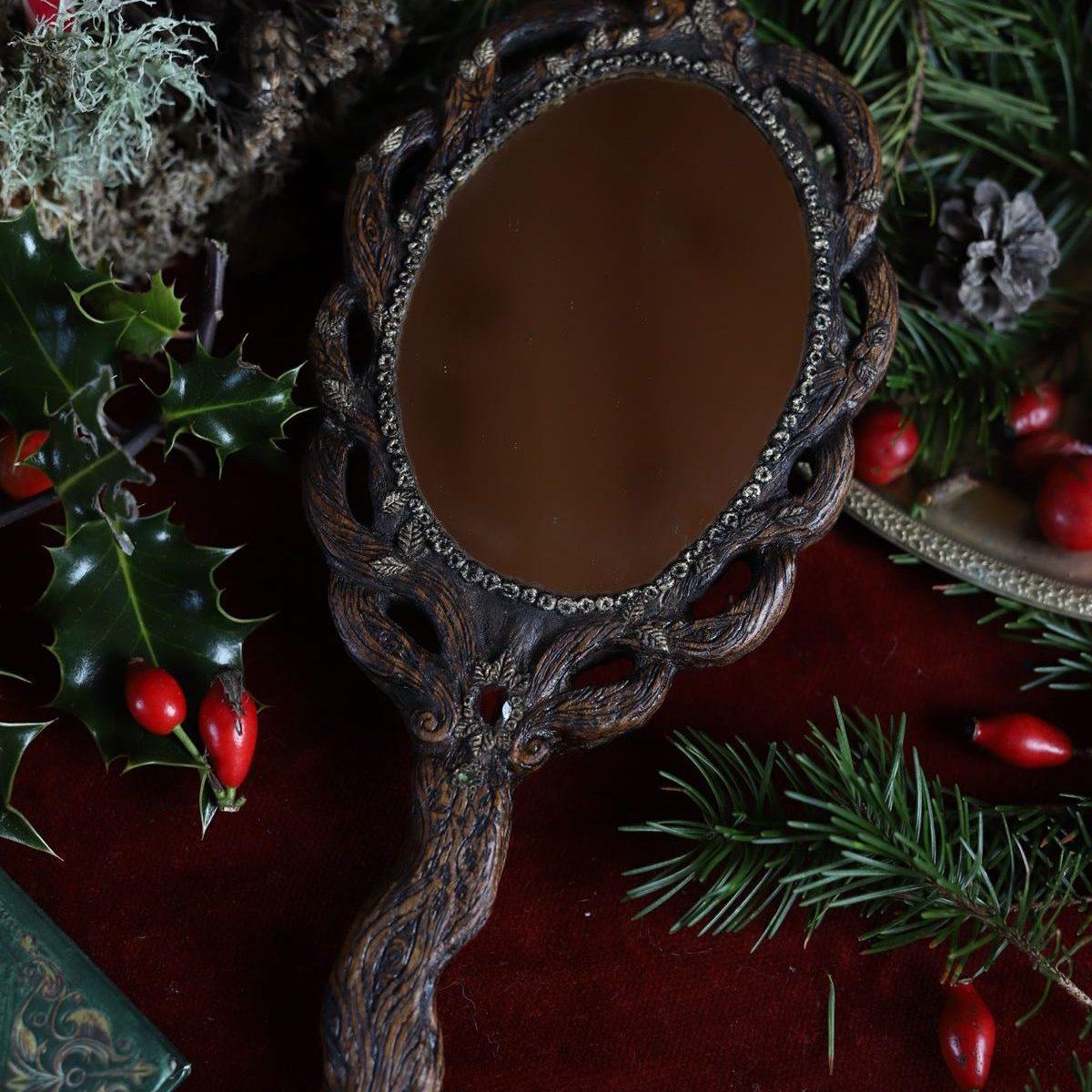 Miroir à main, sculpture, bois, arbre de vie, grenat, artisanat français, écologique, la lettre aux ours, atelier, missive to bears