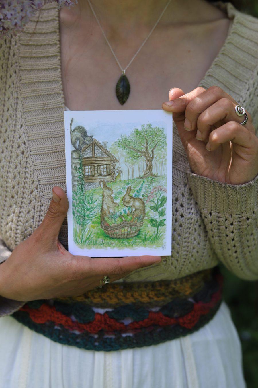 Cartes postales, champetre, atelier de la lettre aux ours, aquarelle, illustration, campagne, normande, inspiration beatrix potter, style anglais, Lucie BRAILLON