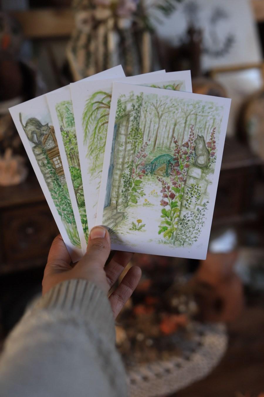 Illustration Lucie BRAILLON, atelier de la lettre aux ours, missive to bears, cartes postales, campagne, champetre, beatrix potter, aquarelle, normandie, vie à la ferme, écologique, nature