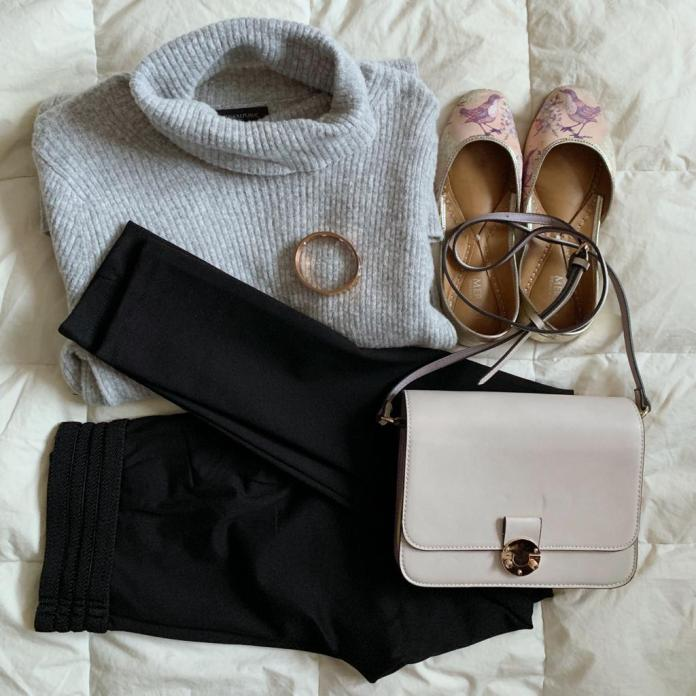 Fall outfit with ribbed sweater