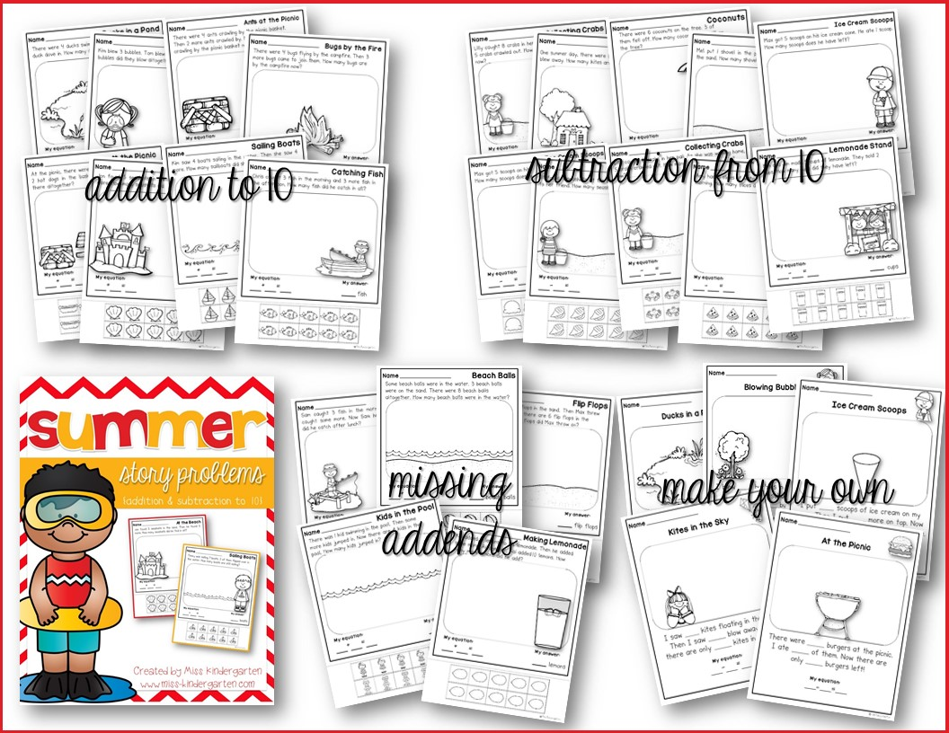 Addition And Subtraction Worksheets Summer Themed Story