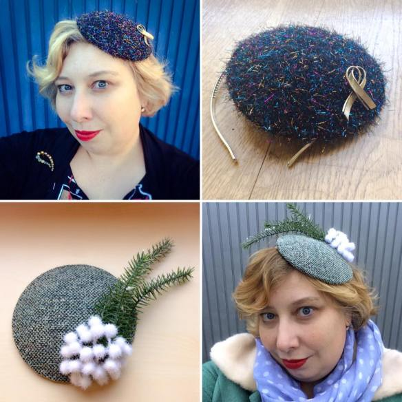 misskittenheel vintage curvyplussize diyyourcloset fascinator 2015 hat tweed christmas glitter sparkle