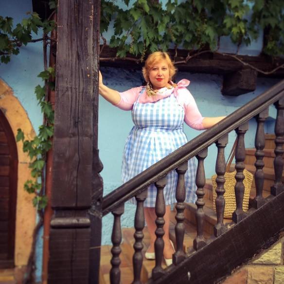 MissKittenheel Alsace Itterswiller babyblue Gingham Check Dress LindyBop Colette 02