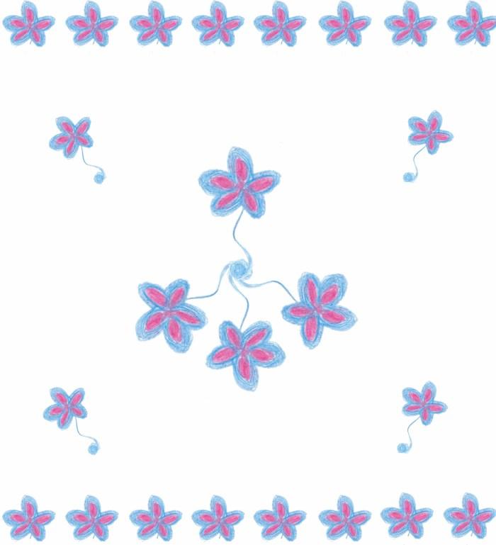 Bijoux fleurs bleues et fuschia-1
