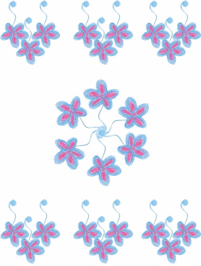 Bijoux fleurs bleues et fuschia-2 2
