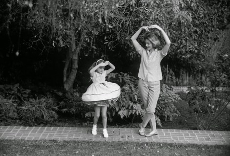 Lauren Bacall and her daughter Leslie Bogart at home in Beverly Hills CA.1958